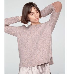 Rag & Bone Francie  Pink Elbow Patch Sweater